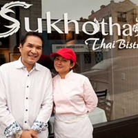 Sukhothai Bistro Sukhothai Bistro owners Cris Jungsuwan and John Wilojamapa Photo by Heather Mull