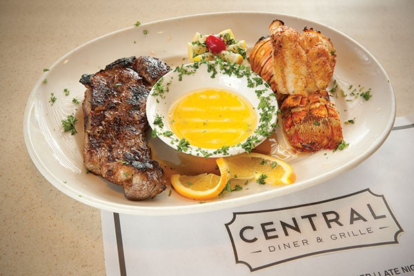 Surf-and-turf with lobster tail and New York strip steak at Central Diner