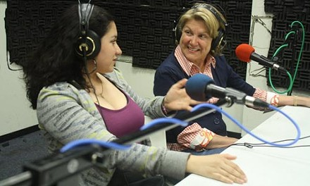 Susan Morris (right) on the air.