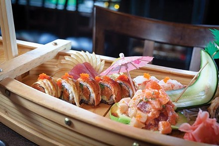 """Sushi platter, with tuna, """"Mars roll"""" and Treasure Island appetizer - PHOTO BY RENEE ROSENSTEEL"""