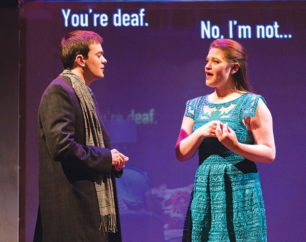 Tad Cooley and Amanda Kearns in Tribes, at City Theatre