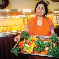 Taj Mahal owner Usha Sethi, with just one of the many Indian dishes available here