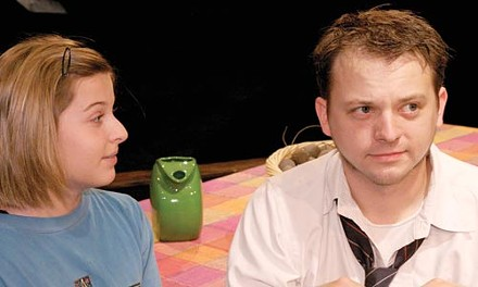 Talking with the tax man: Holly Brueggman (left) and Nathan Bell in Off the Map, at Little Lake. - COURTESY OF JAMES ORR