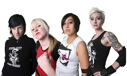 Team captains Christina Korekach (Twiggy Stardust) of Hot Metal Hellions; Lindsey Waltonbaugh (Damage Dahl) of Slumber Party Slashers; Dubraska Sosa (La Diabla) of The Wrecking Dolls; and Dana Valente (Dresta Kill) of the Bitch Doctors - ALL PHOTOS BY HEATHER MULL
