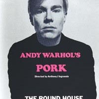 "The 1971 London poster for Warhol's play <i>Pork</i>. It warns, ""This play has explicit sexual content and 'offensive' language."""