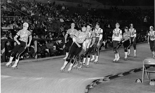 The Bay Bombers roller derby squad visits the arena in 1968. - LIBRARY AND ARCHIVES, SEN. JOHN HEINZ HISTORY CENTER