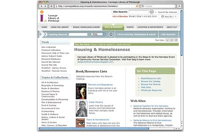 The Carnegie Library's housing and homelessness resource Web site