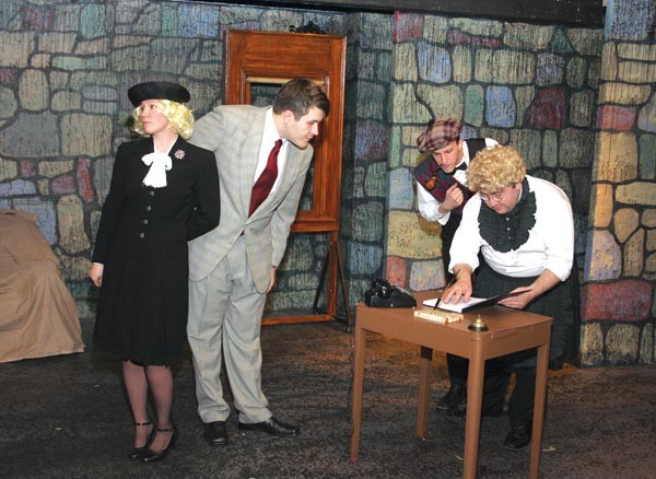 The complete cast of The 39 Steps, at McKeesport Little Theater