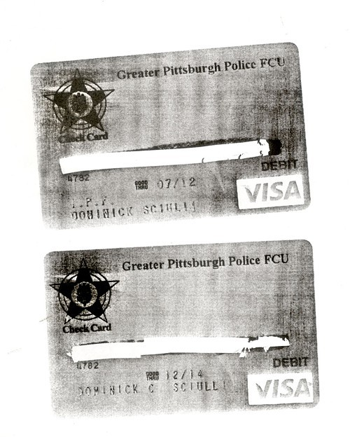 The debit cards held by Officer Dom Sciulli