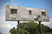 The dilapidated scoreboard at the Sto-Rox softball field.