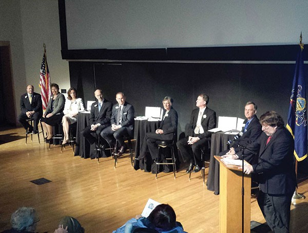 The eight Democratic candidates for governor at a Jan. 26 forum at CMU, from left, Ed Palowski, Jo Ellen Litz, Katie McGinty, Tom Wolf, Rob McCord, Allyson Schwartz, Max Myers and Jon Hanger