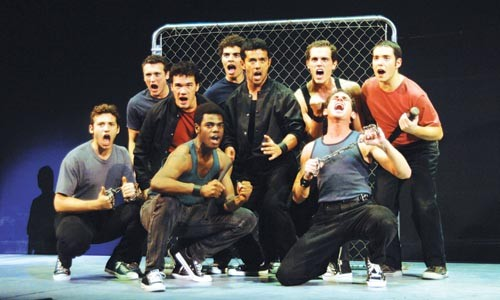 The gang's all here: Sharks sing it out in Pittsburgh CLO's West Side Story. - PHOTO COURTESY OF MATT POLK.