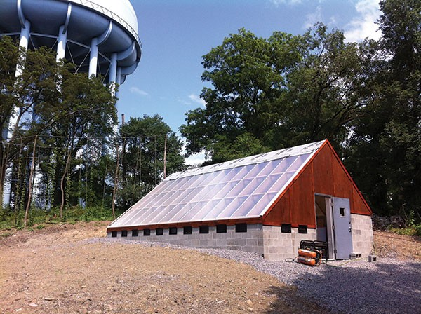 The Garfield Community Farm bioshelter, a greenhouse containing its own ecosystem