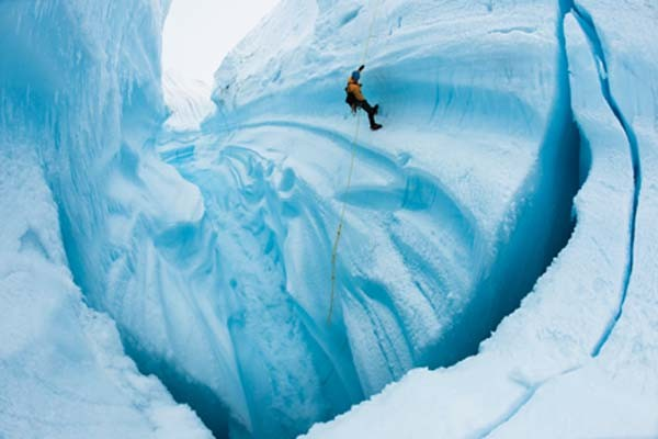 The iceman cometh: a member of the EIS, at a Greenland glacier