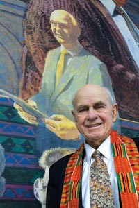 The late Clarke Thomas, with his depiction on the COR mural - HEATHER MULL