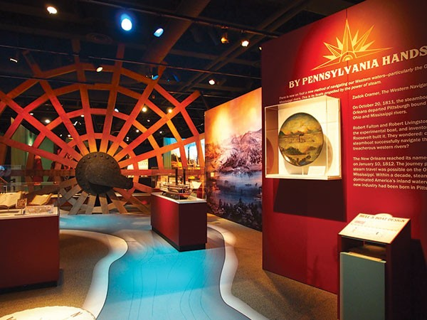 The Missouri Breaks: exhibit view, with replica paddle-wheel, of Pittsburgh's Lost Steamboat