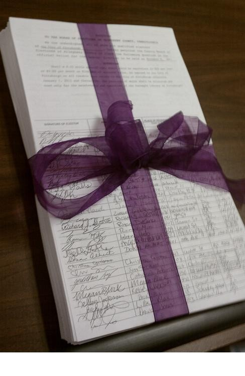 The petitions wrapped up and presented to council yesterday.