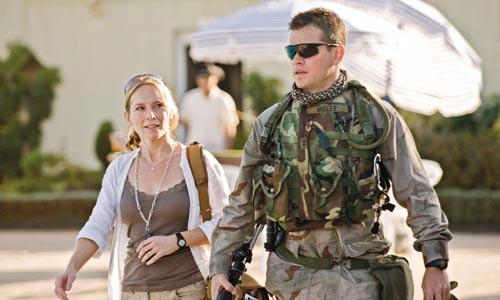 The press meets the army poolside: Amy Ryan and Matt Damon