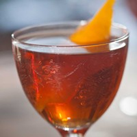 Butcher and the Rye The Robert Burns Manhattan (smoked scotch Manhattan with chartreuse rinse) Photo by Heather Mull