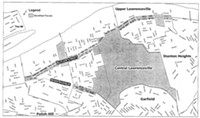 The shaded blocks along Butler Street and Penn Avenue represent propertes that would be included if Lawrenceville's new Business Improvement District is approved.