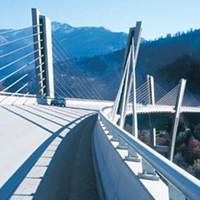 The Swiss structural tradition: Christian Menn's Sunniberg Bridge, near Klosters, Switzerland.