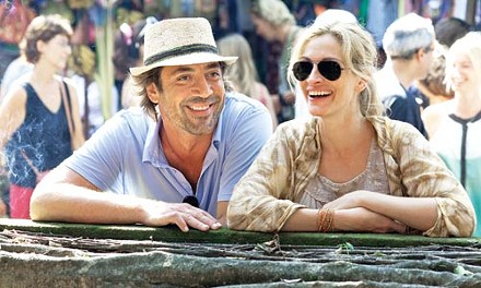 Then I went to Bali: Julia Roberts checks out the scenery with Javier Bardem.
