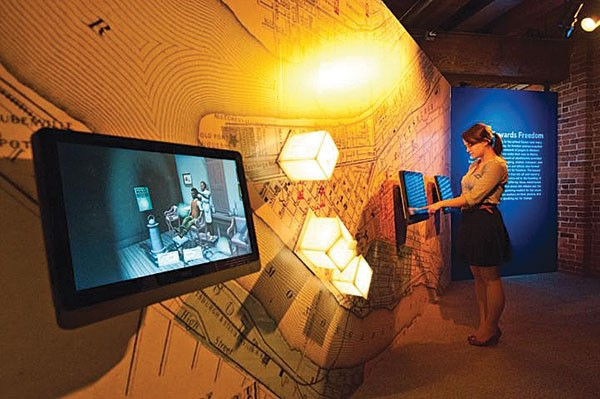 These touch-screens are a new part of the History Center exhibition From Slavery to Freedom