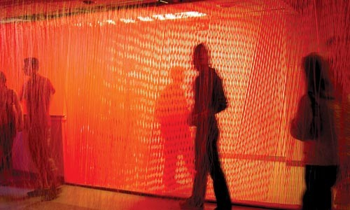 Thicket of monofilament: A view of the Wrinkles installation at 820 Liberty Ave. Photo courtesy of David Burns.