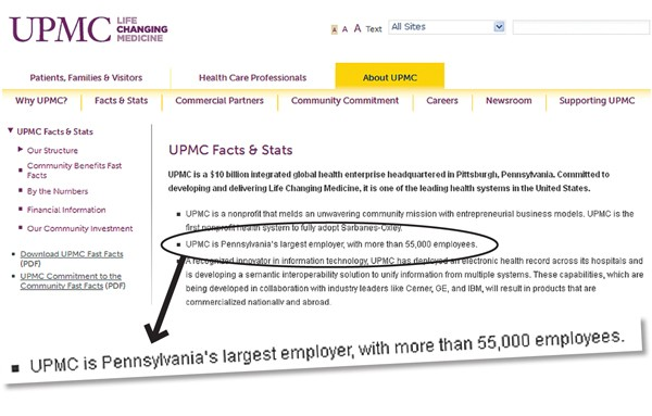 This screenshot from UPMC's website touts its standing as the state's largest employer.