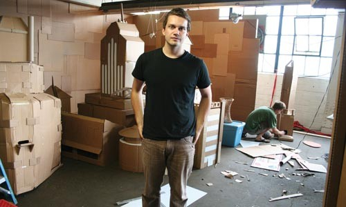 Thom Glunt and his cardboard city