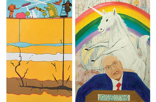 "Thommy Conroy's ""Diagram F"" and Bob Ziller's ""Unicorn Loves Cheney"""