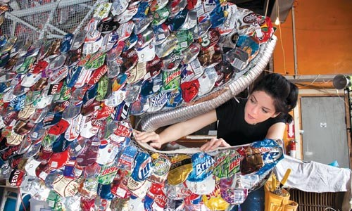 """To scale: Ashley Hodder works on her Three Rivers Arts Festival installation, """"Catch of the Day."""""""