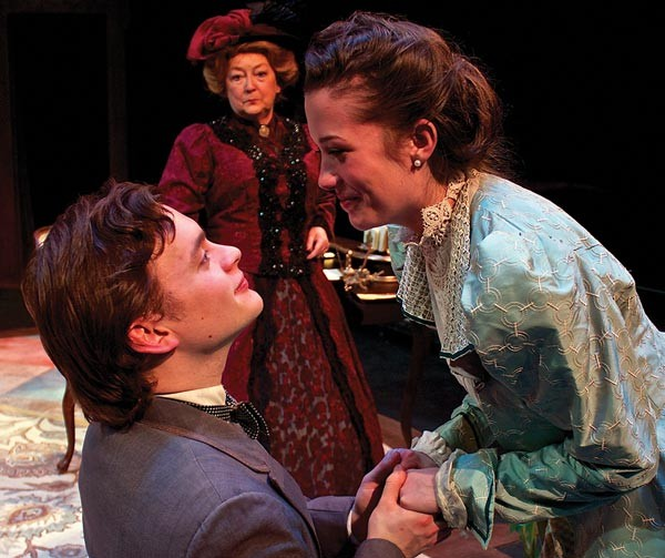 Tom Driscoll and Hayley Nielsen, with Susan McGregor-Laine (background), in Prime Stage's The Importance of Being Earnest.