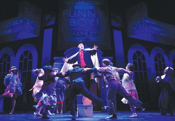 Tom Driscoll and members of the ensemble in The Producers, at the Conservatory Theatre Co.