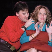 Touchy: Gregory Caridi and Mary Liz Meyer in Beyond Therapy, at Little Lake Theatre.