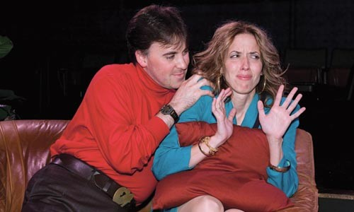 Touchy: Gregory Caridi and Mary Liz Meyer in Beyond Therapy, at Little Lake Theatre. - COURTESY OF JAMES ORR