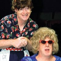 Tour de farce: Kevin Bass (left) and Art DeConciliis in Little Lake's <i>Red, White & Tuna</i>.