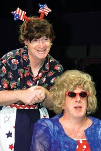 Tour de farce: Kevin Bass (left) and Art DeConciliis in Little Lake's Red, White & Tuna. - COURTESY OF JAMES ORR