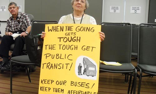 Transit rider Marjorie DeAngelis at an Aug. 19 PAT public hearing - LAUREN DALEY
