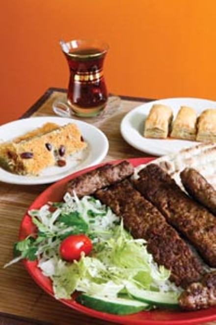Turkish delights: acili adana with Turkish tea, and dessert dishes kadayif and baklava. - HEATHER MULL