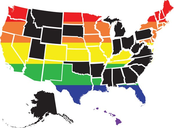 Twenty states nationwide (shaded in black) offer no hate-crime protections based on sexual orientation.