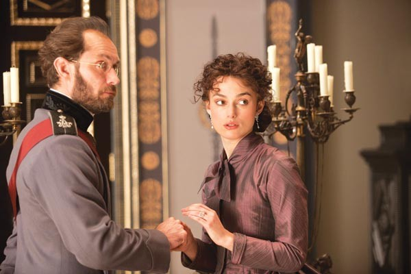 Two sides of a Russian triangle: Mr. and Mrs. Karenina (Jude Law, Keira Knightley)