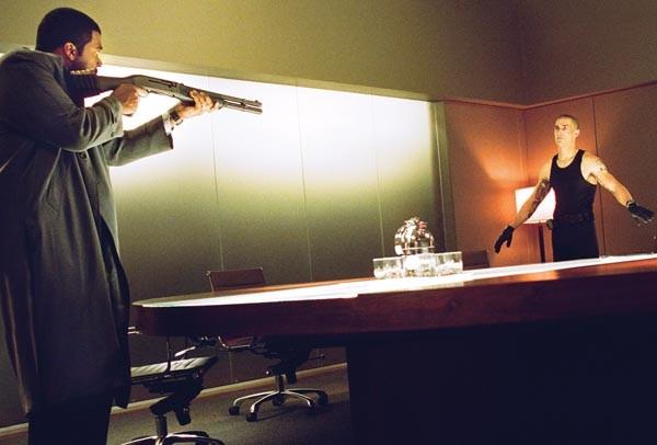 Tyler Perry (left) brings the big gun; Matthew Fox brings the crazy