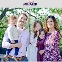 Natalie Mihalek (right) with her family, as seen on her campaign website. Same photo appears in Florida congressional ad.