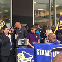 Bill Peduto and John Fetterman rally in downtown Pittsburgh