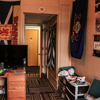 Caleb, Point Park University student, living in a single dorm room on campus