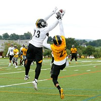 James Washington catches a touchdown pass in front of Joe Haden.
