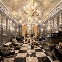 House of Handsome Barbershop goes for gold with a 1920s hotel vibe in its Dormont parlor