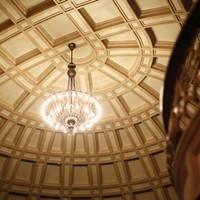 A view of the intricate ceiling at Carnegie Music Hall