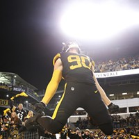 T.J. Watt leaps onto Heinz Field during his introduction.